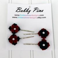 Bobby Pin - Black Red Flower